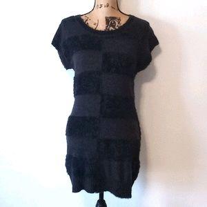 Anthro Miilla Fuzzy Charcoal Black Mini Dress L